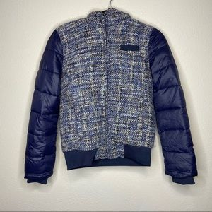 MEMBERS ONLY Navy Blue Tweed Puffer Coat Small